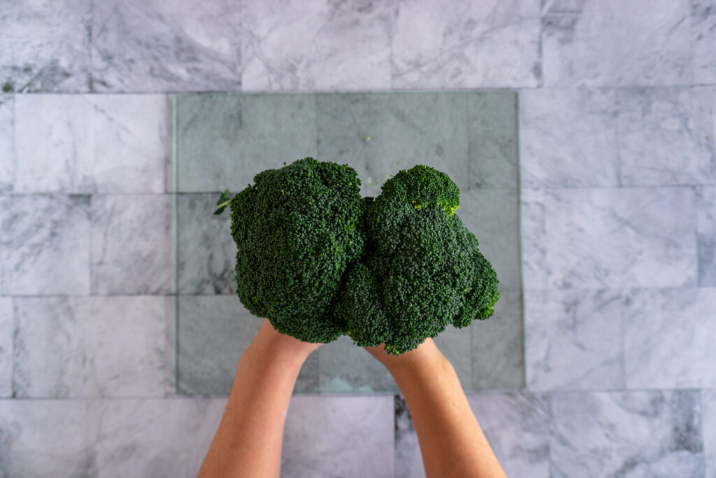 Hands holding two broccoli crowns like a boquet.