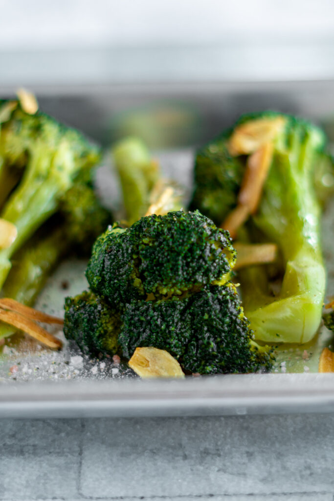 Close up of the top of a sous vide cooked broccoli floret.