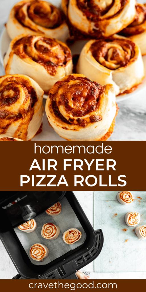 Air fryer pizza rolls pinterest graphic.