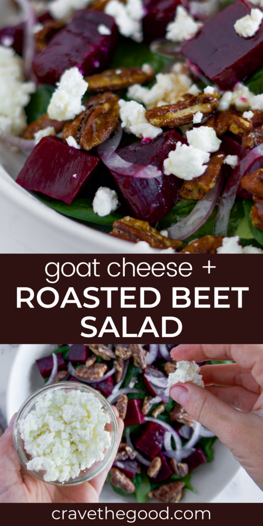 Roasted beet and goat cheese salad pinterest graphic.