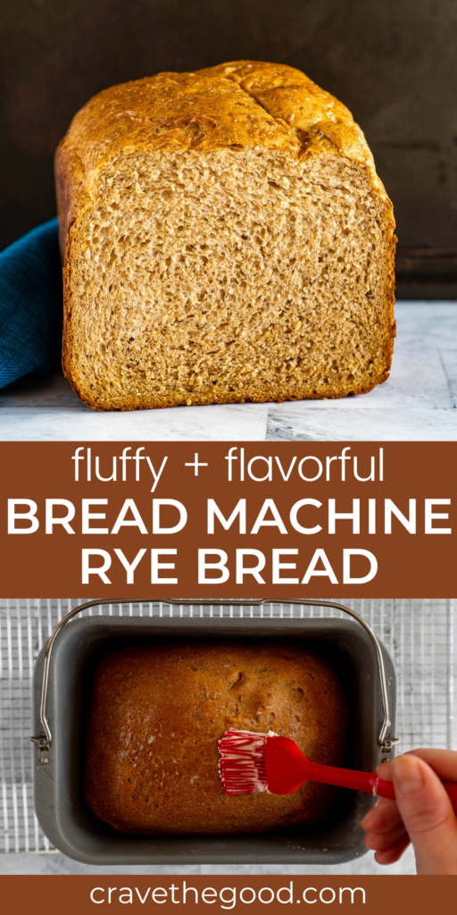 Bread machine rye bread pinterest graphic.