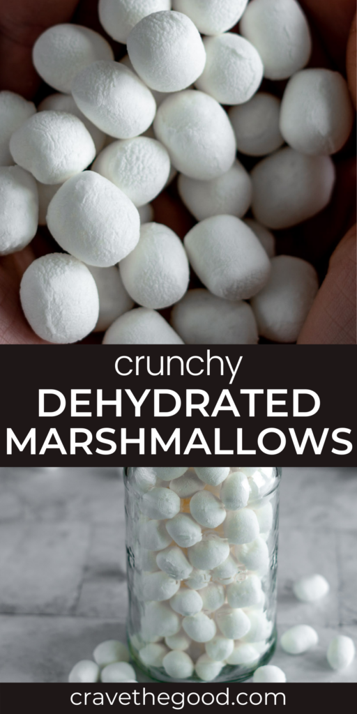 Dehydrated marshmallows pinterest graphic.
