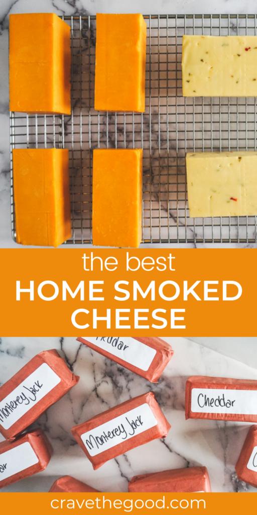 Home smoked cheese pinterest graphic.