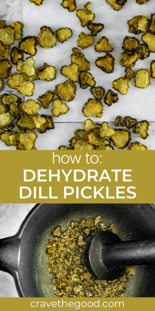 How to dehydrate dill pickles pinterest graphic.