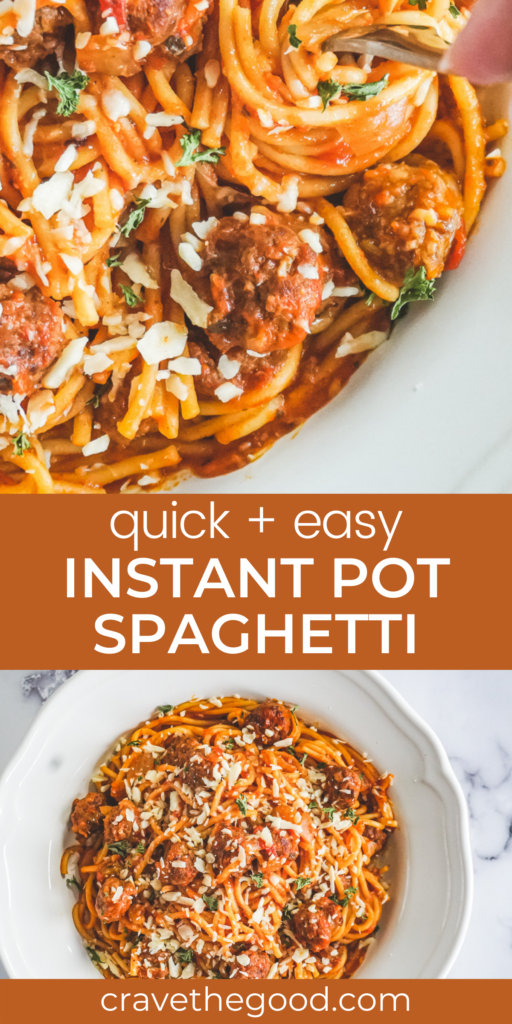 Quick and easy instant pot spaghetti pinterest graphic