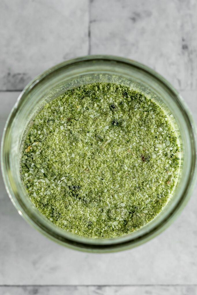 overhead view of a jar of jalapeno salt.