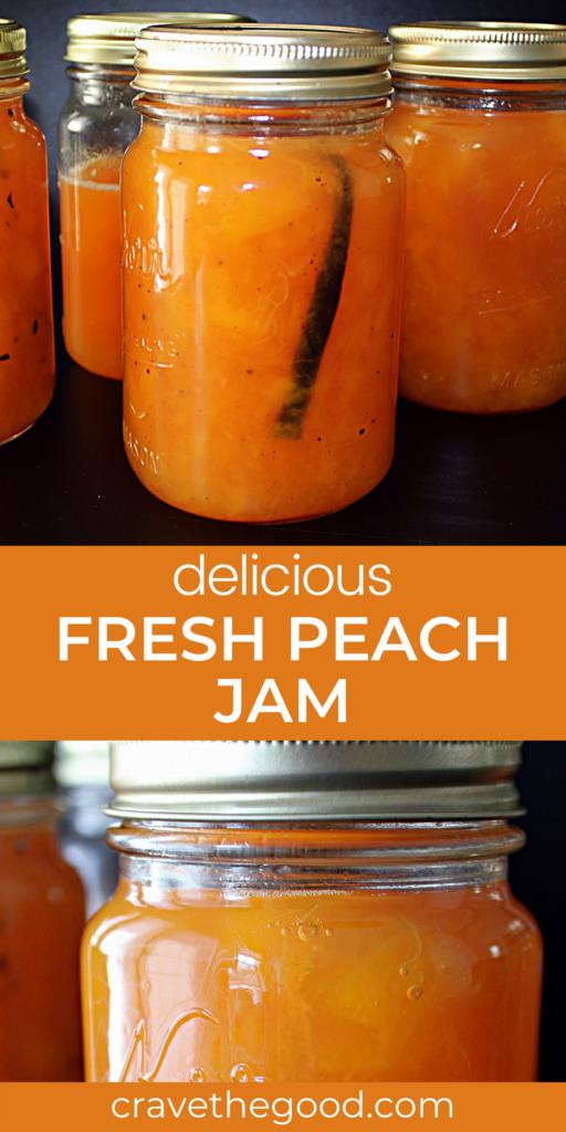 Fresh peach jam pinterest graphic.
