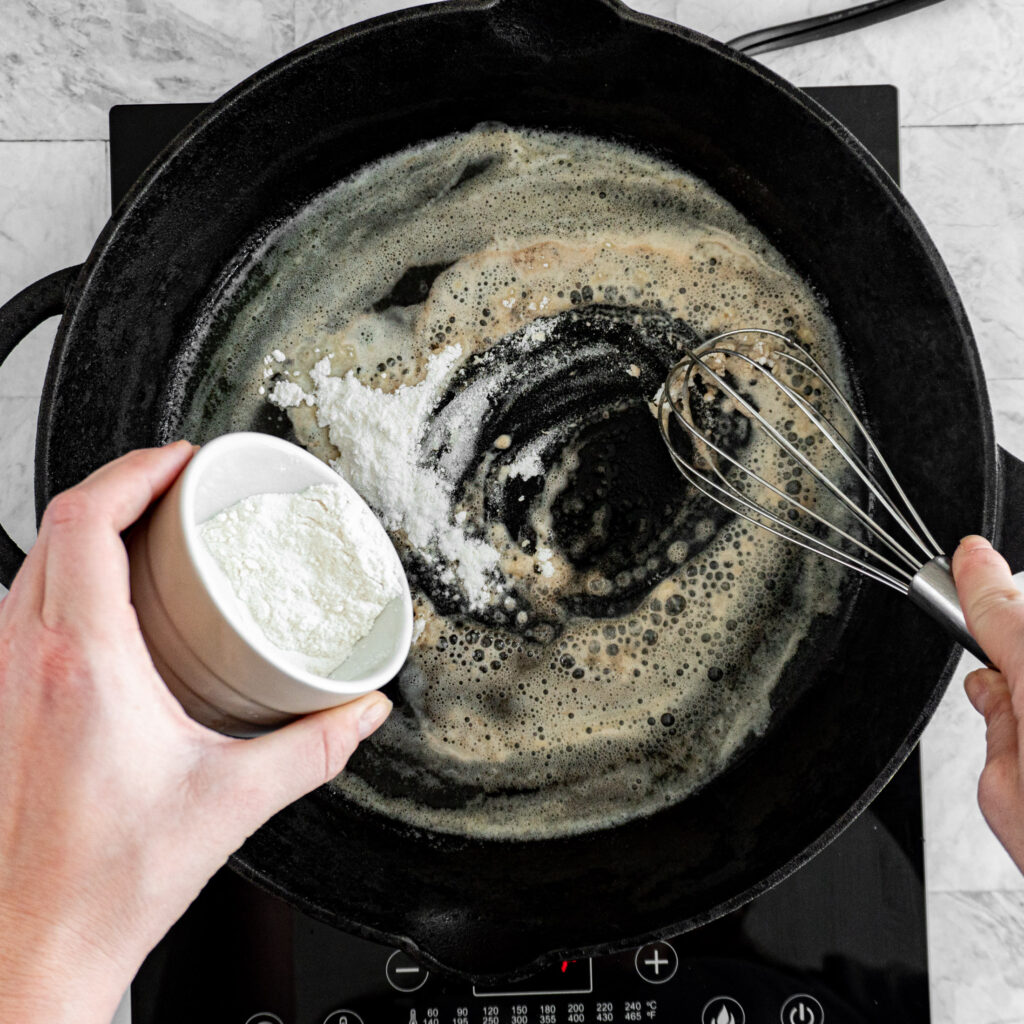 Adding flour to the browned butter.