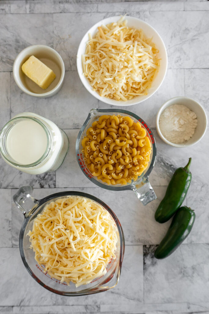 Ingredients for homemade mac and cheese displayed