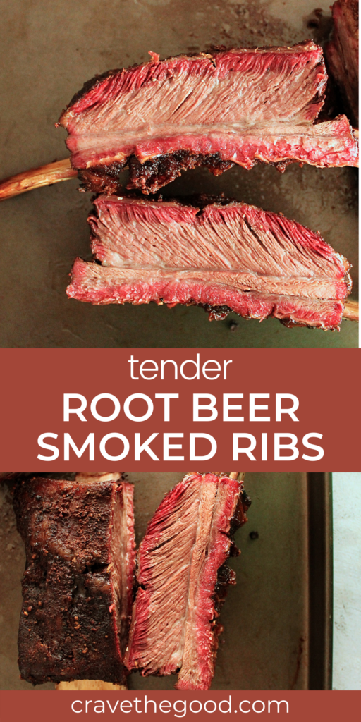 Root beer smoked ribs pinterest graphic.