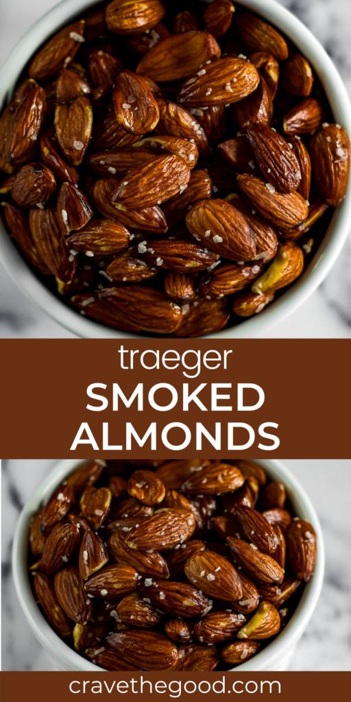 Smoked almonds pinterest graphic.