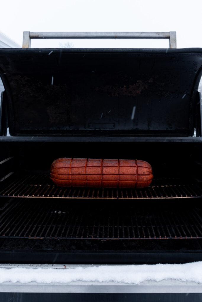 Baloney finished smoking on a Traeger.