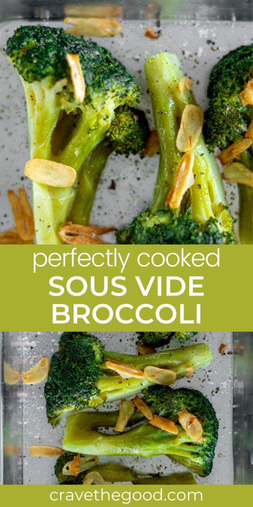 sous vide green broccoli pinterest graphic.
