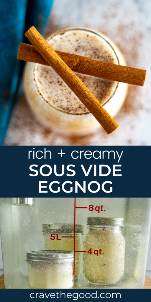 Sous vide eggnog pinterest graphic.