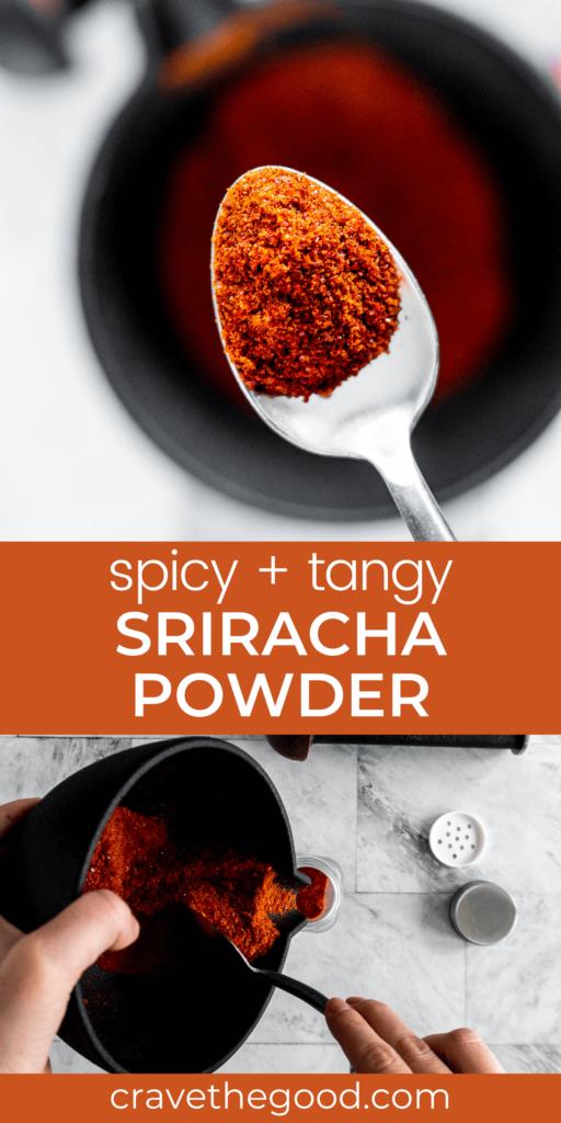 Sriracha powder pinterest graphic.