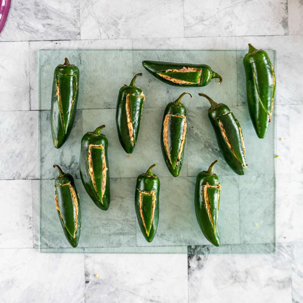 Filled jalapenos with wedges replaced.