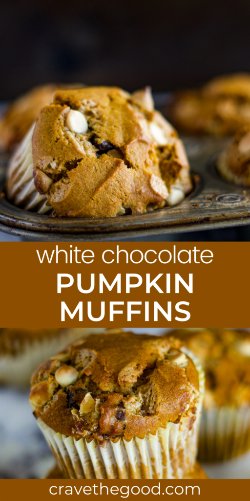 White chocolate pumpkin muffins pinterest graphic.