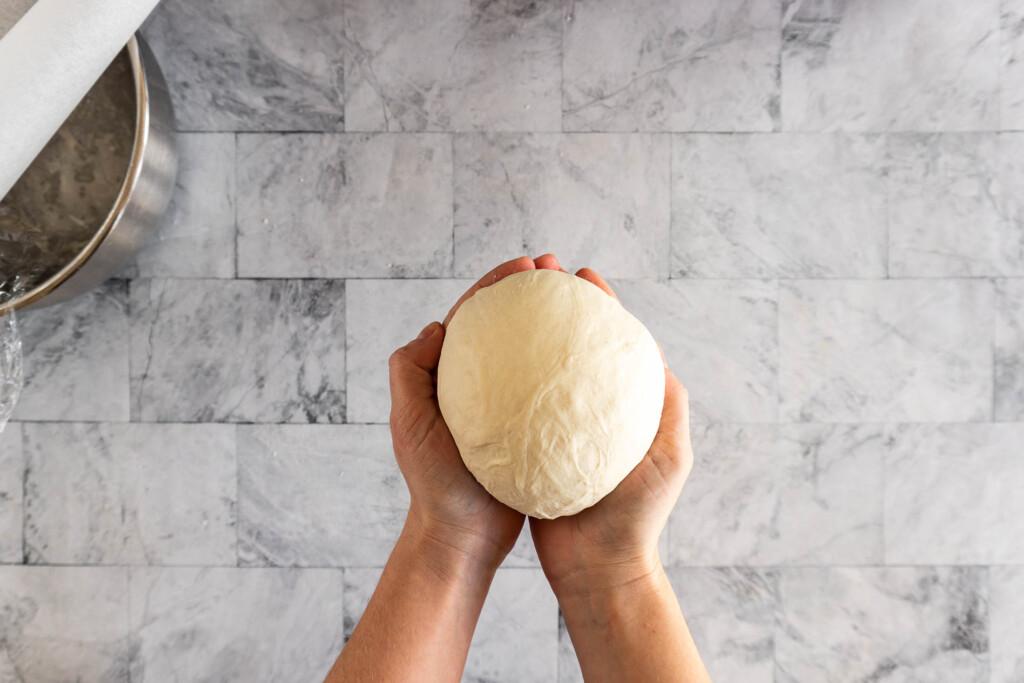 Sourdough formed into a boule.