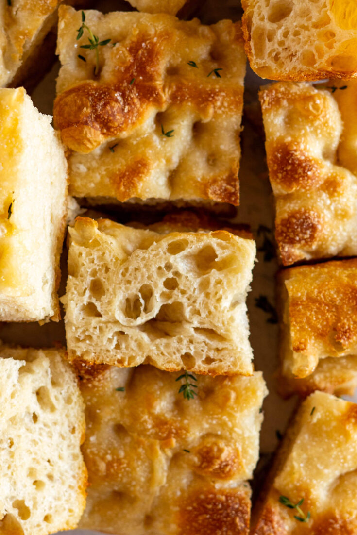 Showing the focaccia crumb.