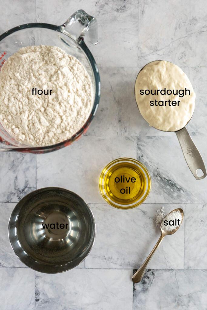 Ingredients for sourdough focaccia.