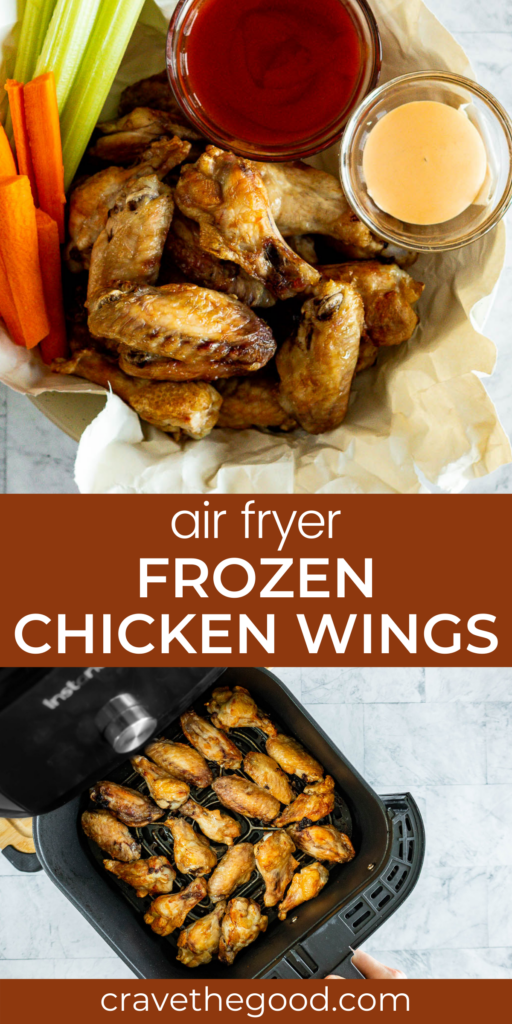 Air fryer frozen chicken wings pinterest graphic.
