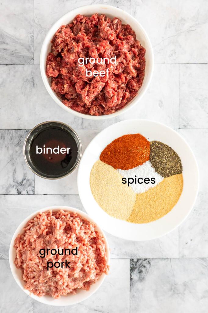 Ingredients for ground beef jerky sticks.
