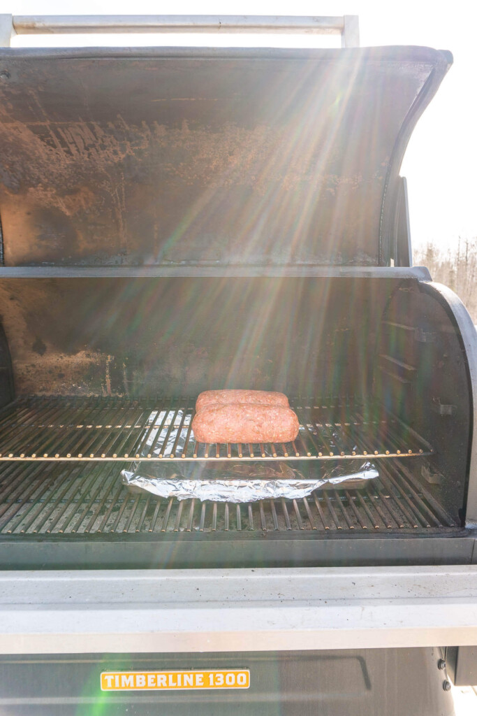Two donair loaves on a traeger timberline.