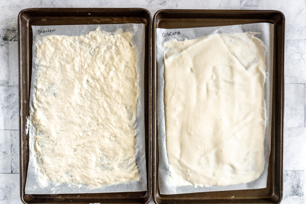 Drying sourdough starter on cookie sheets.