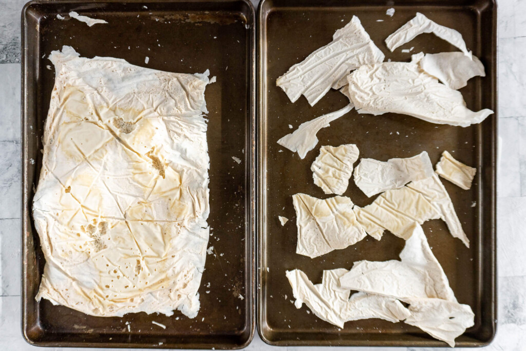 Dried starter on cookie sheets.