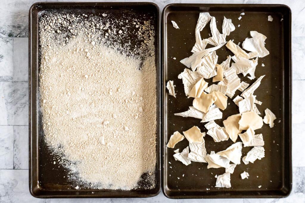 Ground dehydrated sourdough starter.