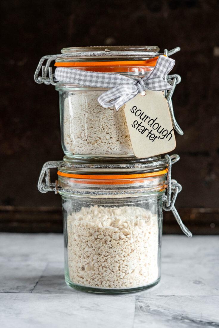 dried sourdough starter in a bail type mason jar.