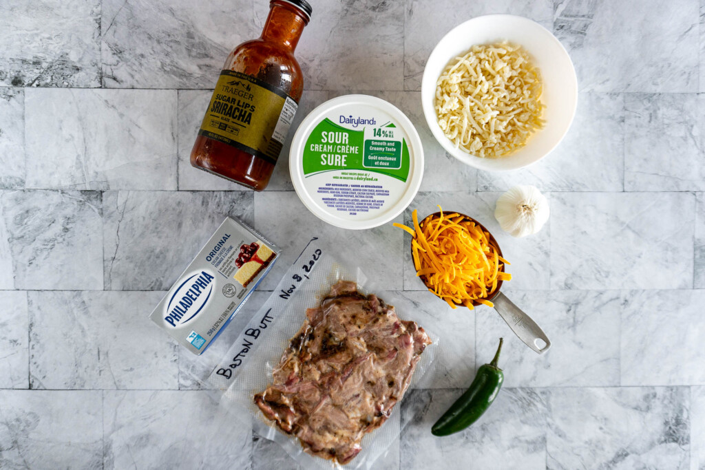 Ingredients required for this cheesy pork dip.