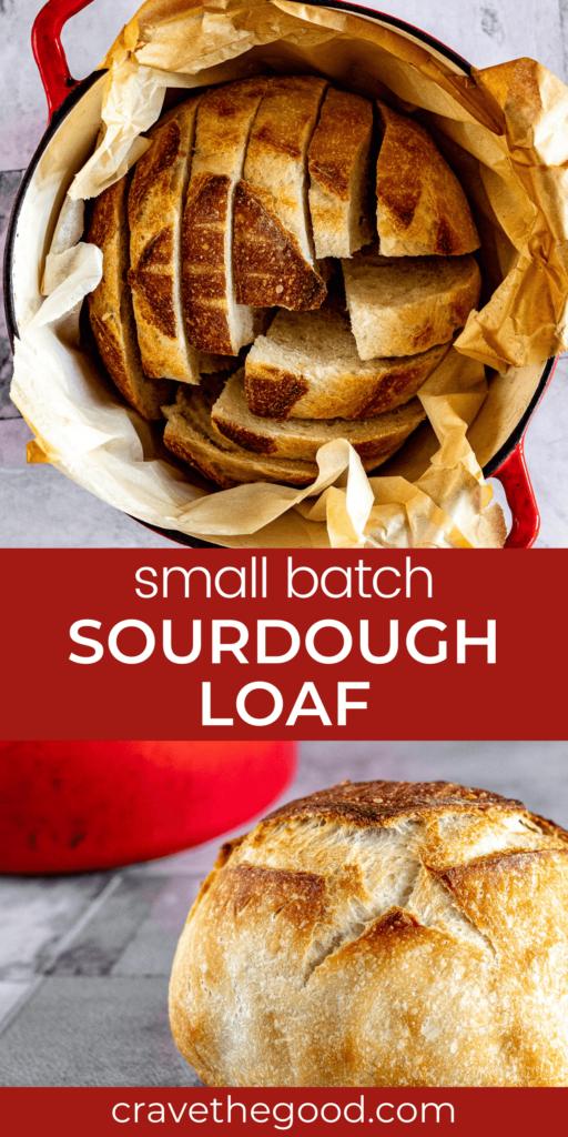 Small batch sourdough pinterest graphic.
