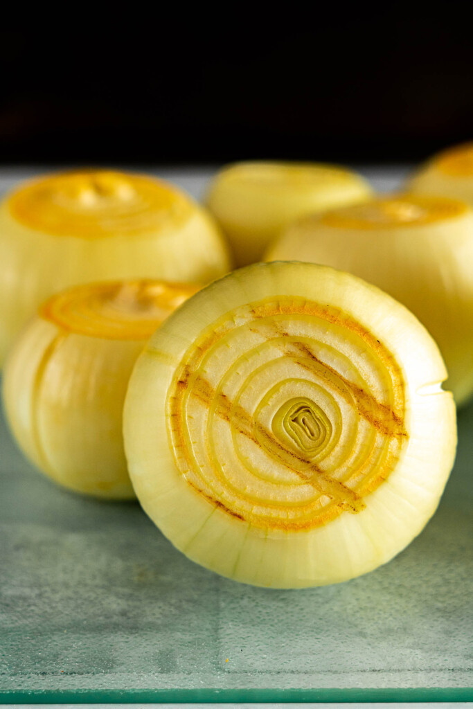 Smoked onion with grill marks.
