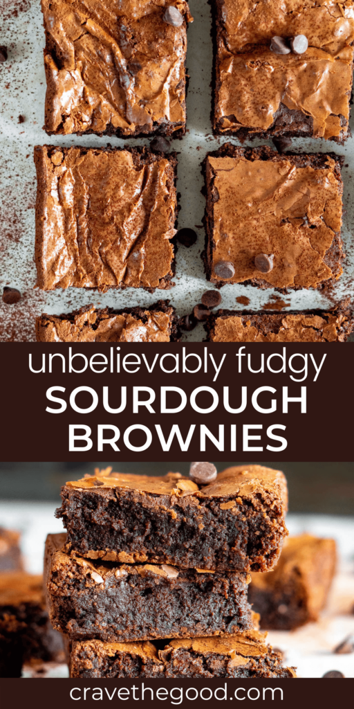 Fudgy sourdough brownies pinterest graphic.