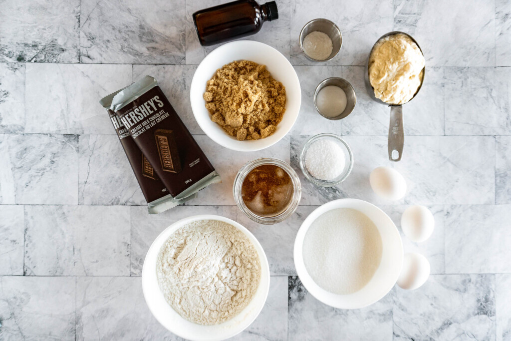 Ingredients required for sourdough discard chocolate chip cookies