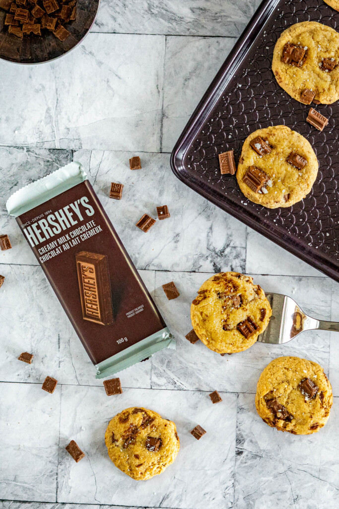 Sourdough chocolate chip cookies and a Hershey's bar.