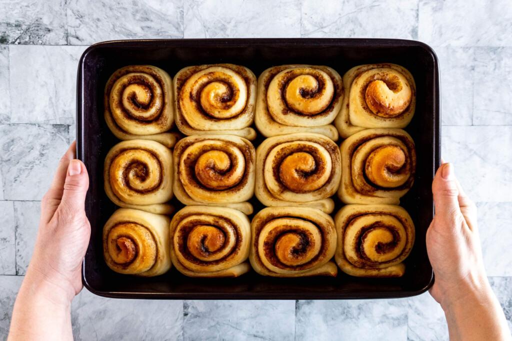 Sourdough starter cinnamon rolls after baking.