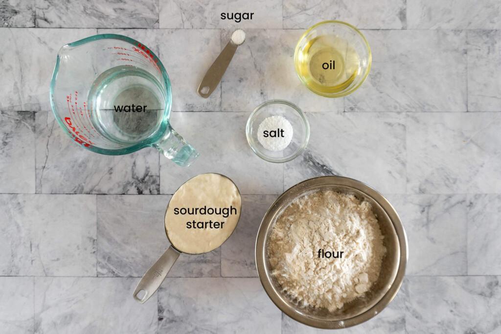 Ingredients for sourdough pitas.
