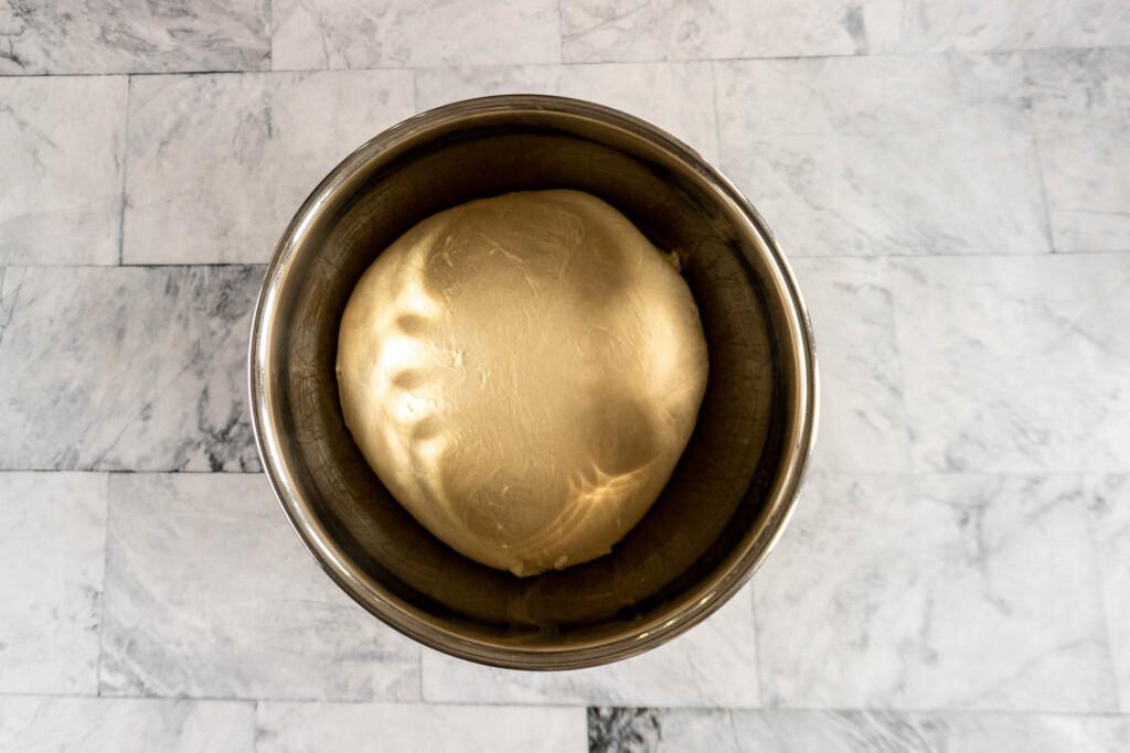 Pita dough after resting overnight.