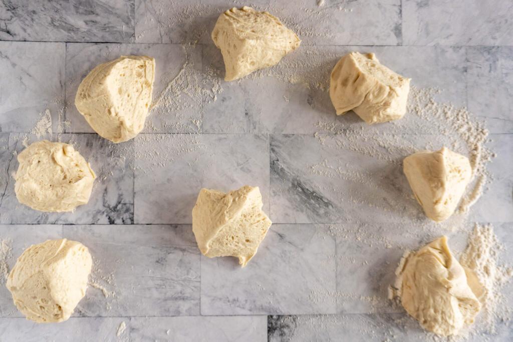 8 small pieces of dough.