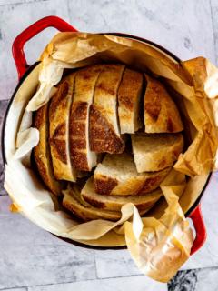 Sliced sourdough loaf.