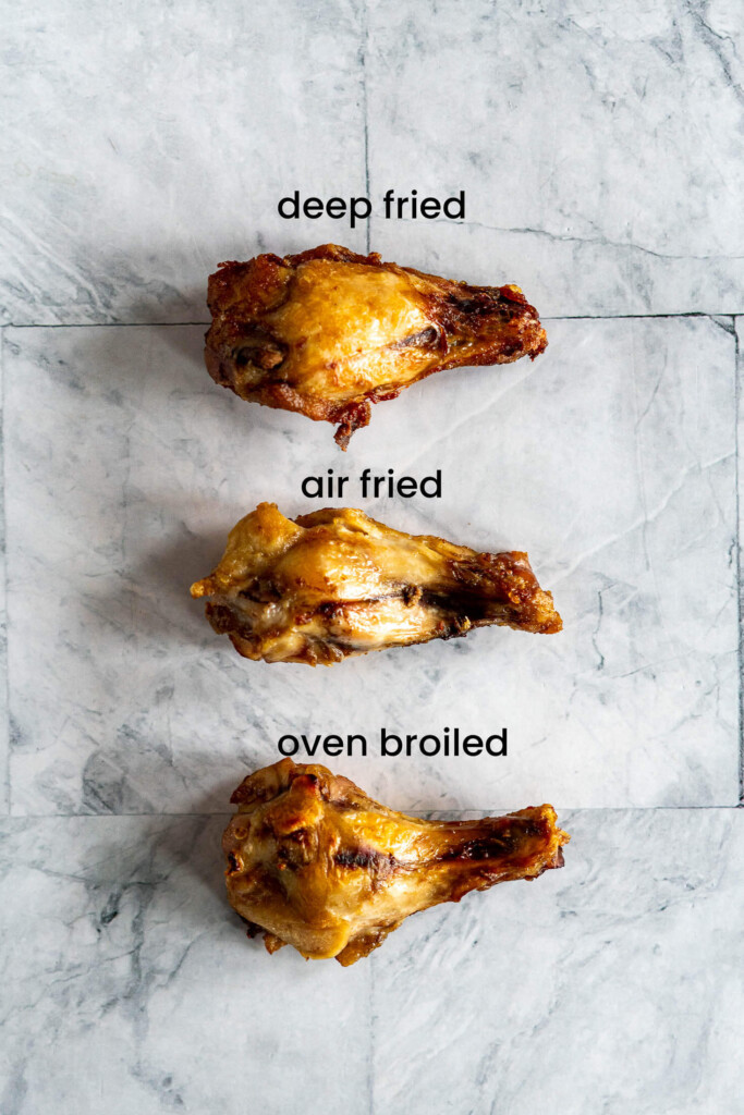 Sous vide chicken wings finished 3 different ways.