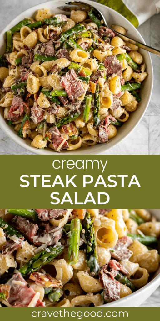 Steak pasta salad pinterest graphic.