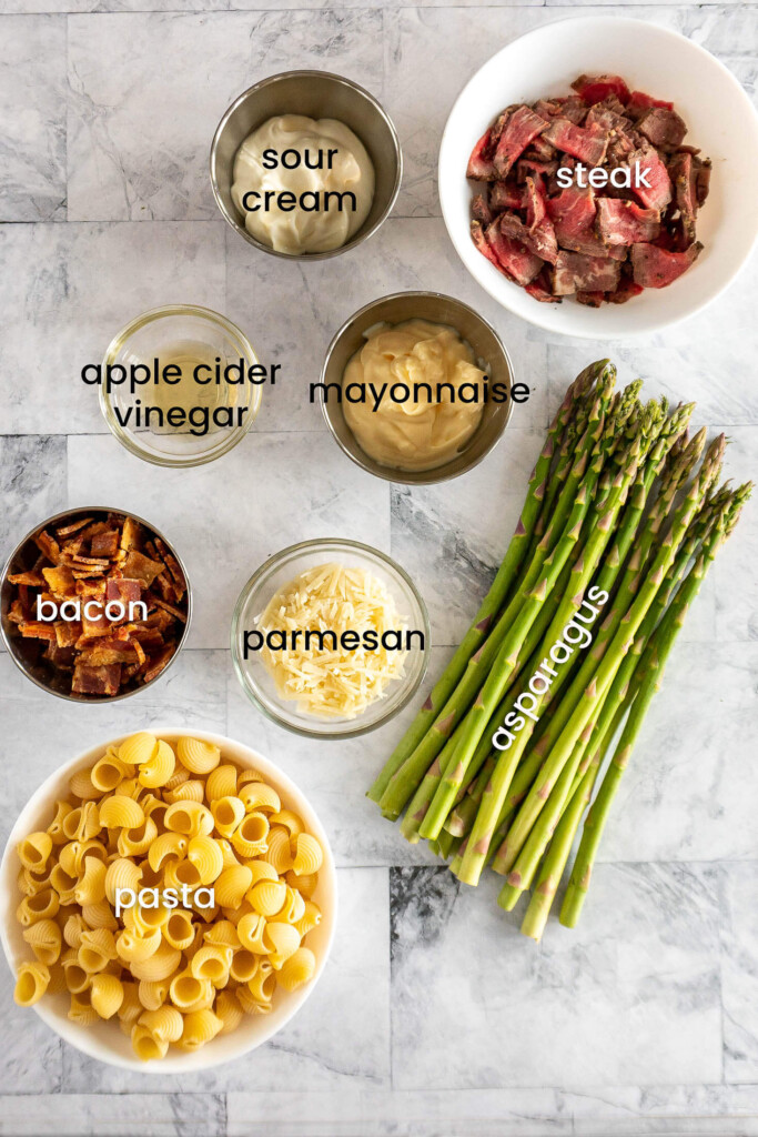 Ingredients for pasta salad with steak.