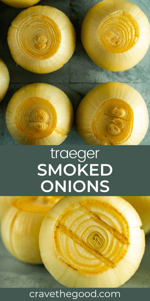 Traeger smoked onions pinterest graphic.