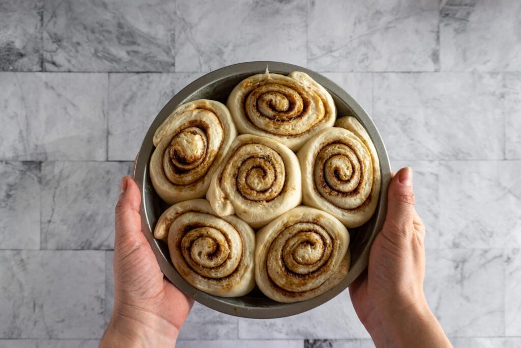 Cinnamon rolls before cooking in air fryer.
