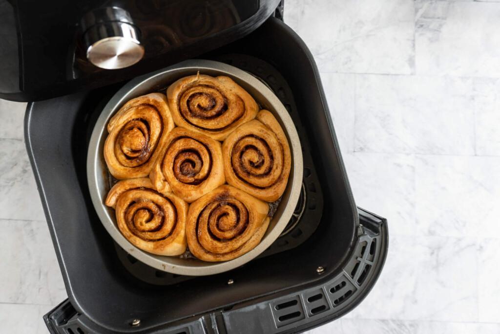 Baked cinnamon rolls in air fryer.
