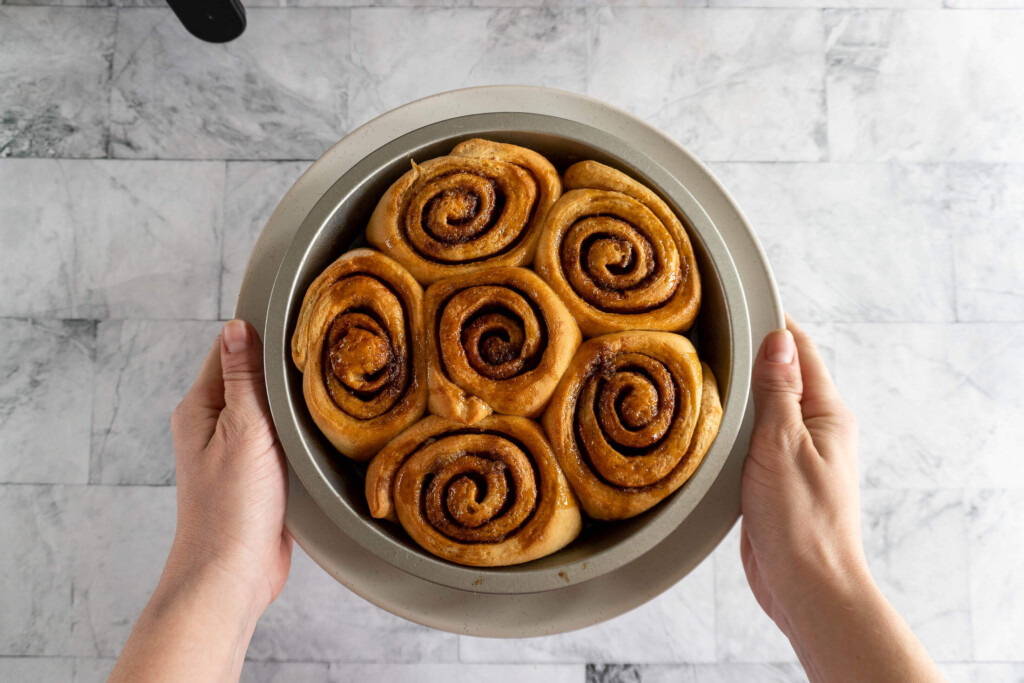 Cinnamon rolls after cooking in the air fryer.