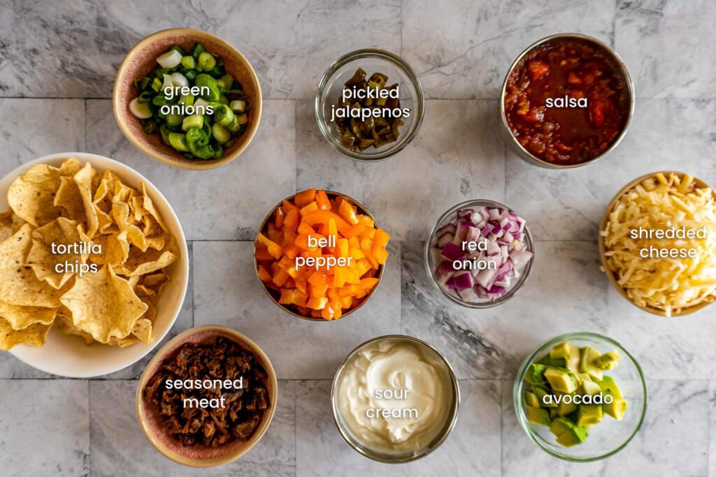 Air fryer nachos ingredients.
